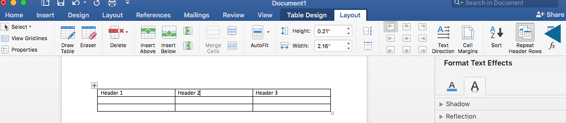 Repeating Header Rows option is located in the Layout options