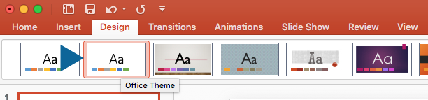 Choose Office Theme under Design tab