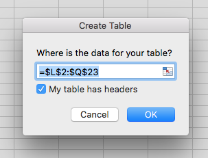 Create Table options box