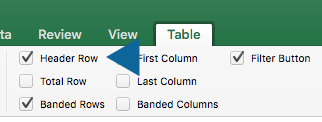 Arrow pointing to Header Rox check box in Table options