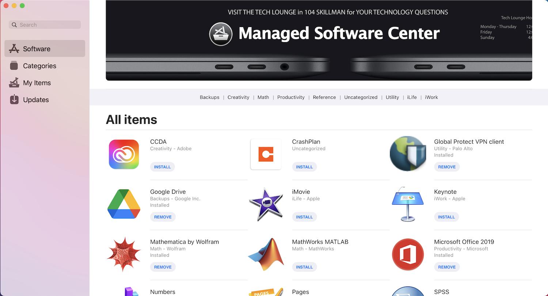 Managed Software Center Window