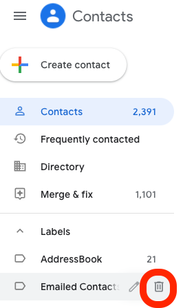 Red circle around trash can for Emailed Contacts