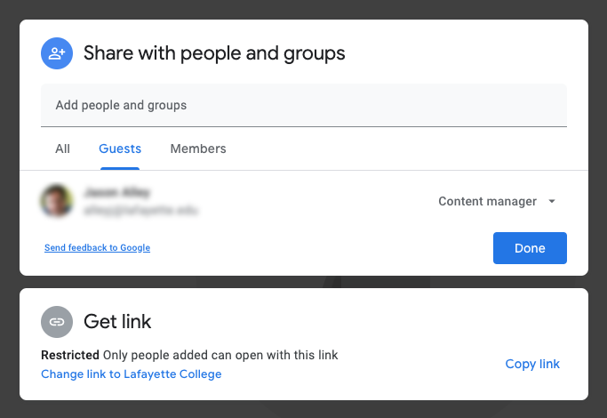 Folders shared with non-members of the Shared drive will be listed as Guests