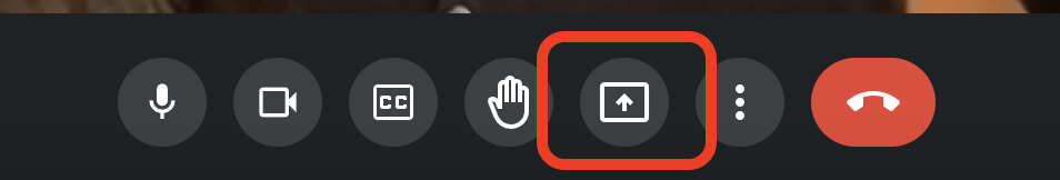"""Red box around """"present now"""" icon in Google Meet controls"""