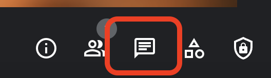 """Red box around the """"Chat"""" button in Google Meet"""