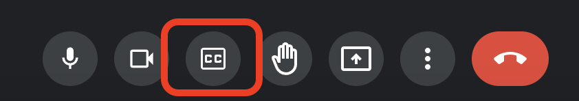 Red box around the CC button in Google Meet controls
