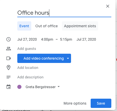 "Click ""Appointment slots"" to add appointment slots."