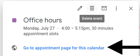 "Share the ""Go to appointment page for this calendar"" URL to allow others to sign up for a slot."