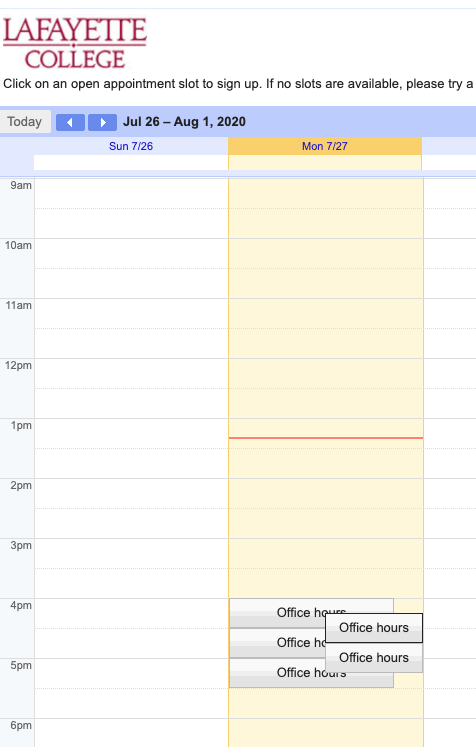 Appointment time slots in google calendar