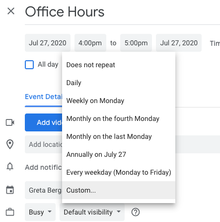 "Choose ""Custom..."" to set a custom end date to your office hours."
