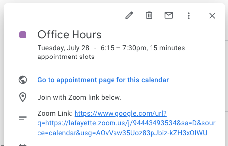 Add Zoom meeting URL to appointment slot description field.