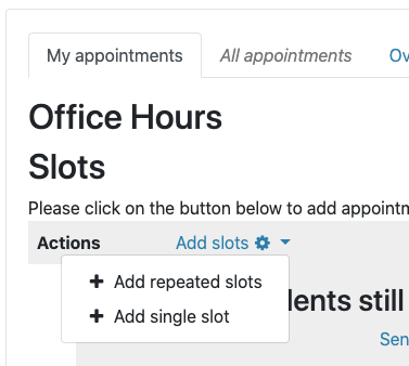 "Click ""Add slots"" to add slots to the scheduler"