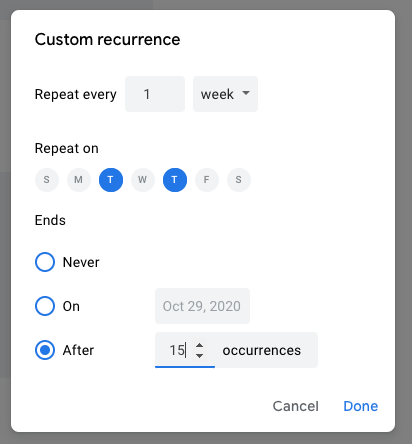 Custom recurrence options allow for multiple days of the week and a specific number of occurrences