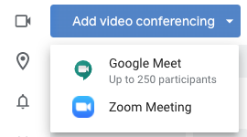"Click ""Add video conferencing"" and select Zoom Meeting"