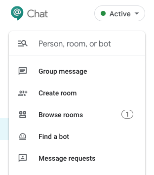 "Click ""Find people, rooms, bots"" to message another person or create a Room."
