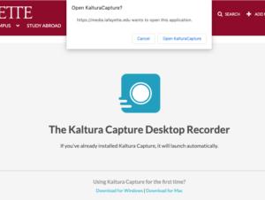 Prompt to download or open Kaltura Capture Desktop Recorder