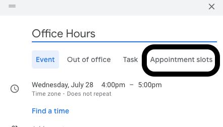 "Black circle around ""Appointment Slots"" on Google Calendar event creation window"