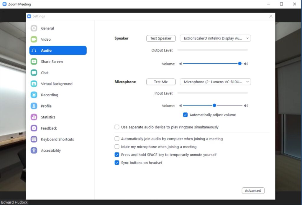 Audio settings in Zoom for smart classrooms
