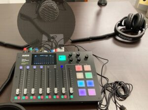 8 Chanel mixer in the podcast studio