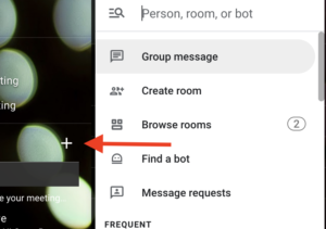 """Click """"+"""" button to find person or Room"""