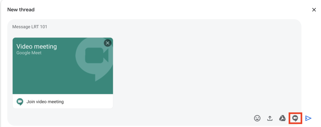 Start a Google Meet in Chat by clicking the Google Meet icon