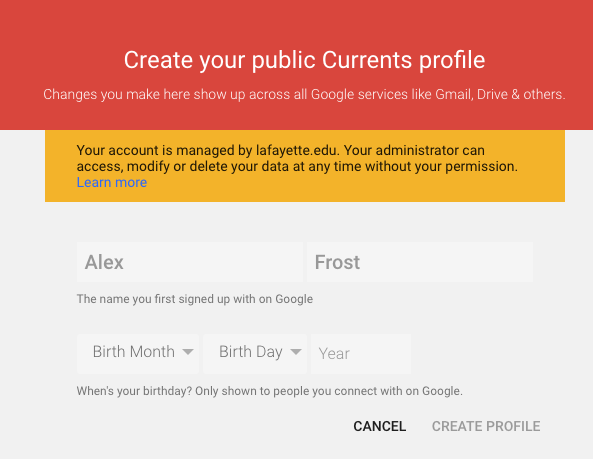 Follow the prompts to set up your Currents profile