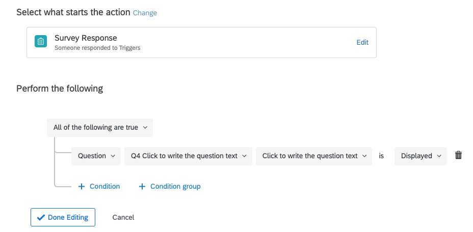 Choose a question that is only displayed to the second respondent