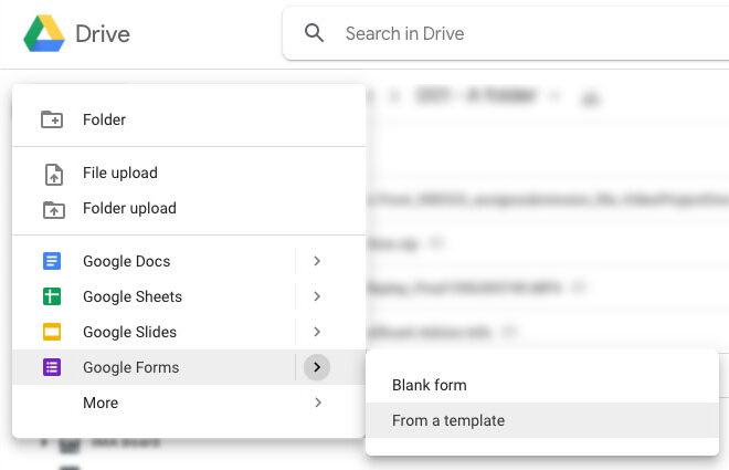Screenshot of creating a Google Form from a template