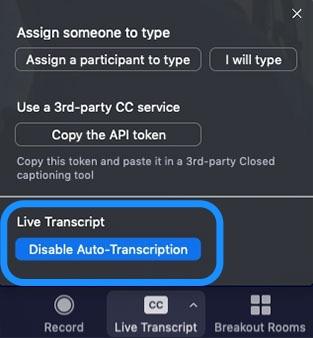 Zoom Live Transcript disable auto-transcription screen