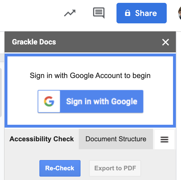 A Sign in with Google Account to begin box