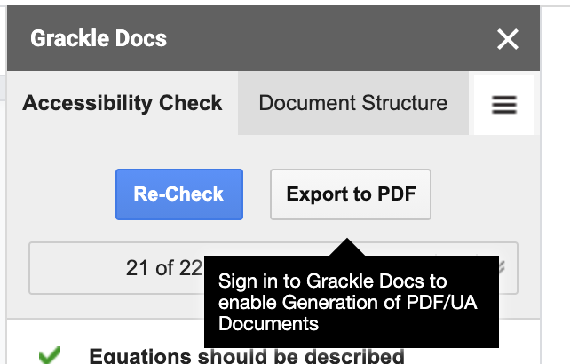"""""""Export to PDF"""" button in Grackle Docs interface"""