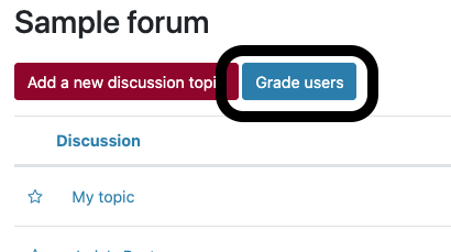 """Black circle around the """"Grade users"""" button on a Moodle forum"""