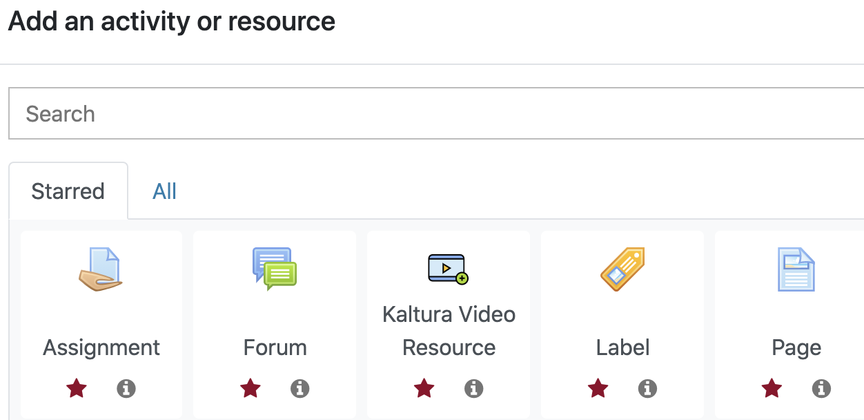 Starred tab in the activity and resource picker in Moodle.