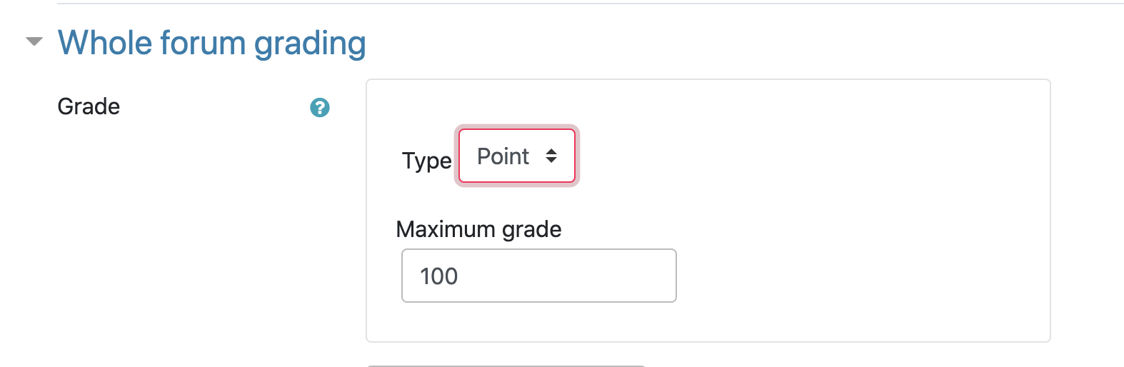 Whole forum grading section in the activity settings for Moodle forum