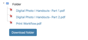 """Expanded folder view on Moodle course homepage with """"Download Folder"""" button"""