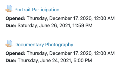 Two Moodle assignments with Opened and Due dates displaying