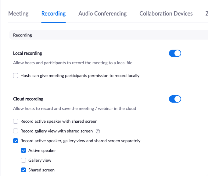 """Recording settings in Zoom with """"Record active speaker, gallery view and shared screen separately"""" checked"""